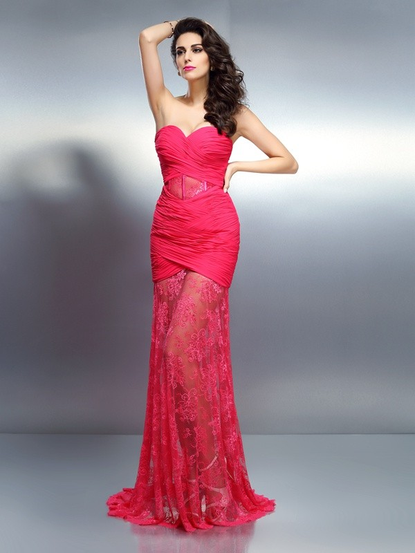 Exquisite Mermaid Sweetheart Sleeveless Long Chiffon Dress