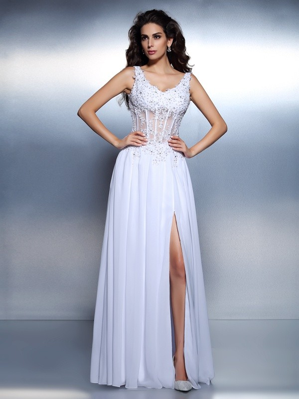 Exquisite A-Line Scoop Sleeveless Long Chiffon Dress
