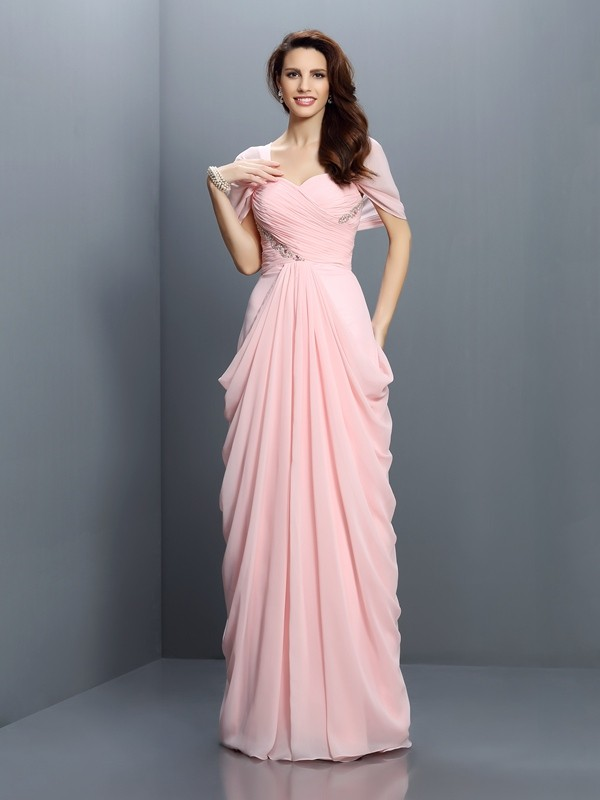 Exquisite A-Line Sweetheart Short Sleeves Long Chiffon Bridesmaid Dress