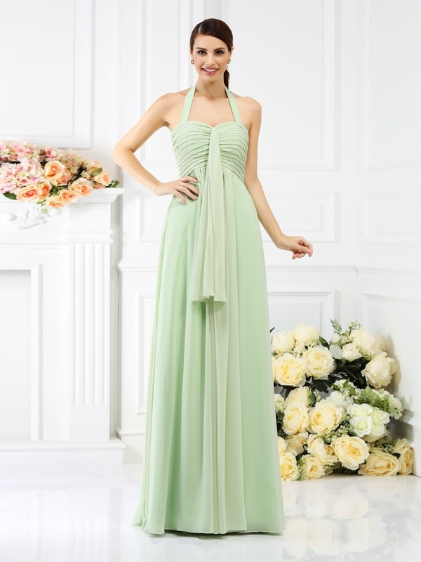 Charming A-Line Halter Sleeveless Long Chiffon Bridesmaid Dress
