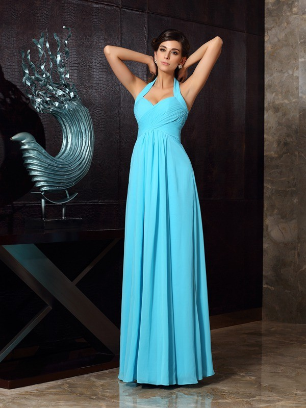 Charming A-Line Halter Sleeveless Long Chiffon Dress