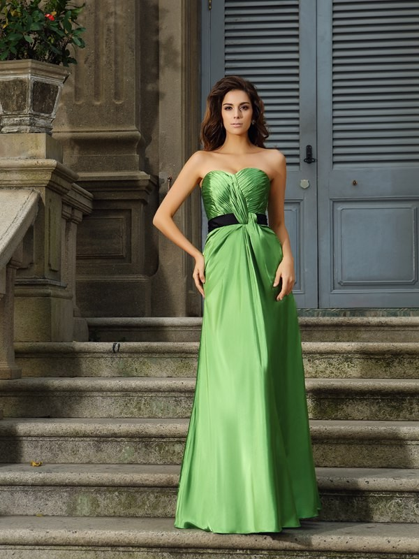 Charming A-Line Sweetheart Sleeveless Long Silk like Satin Bridesmaid Dress