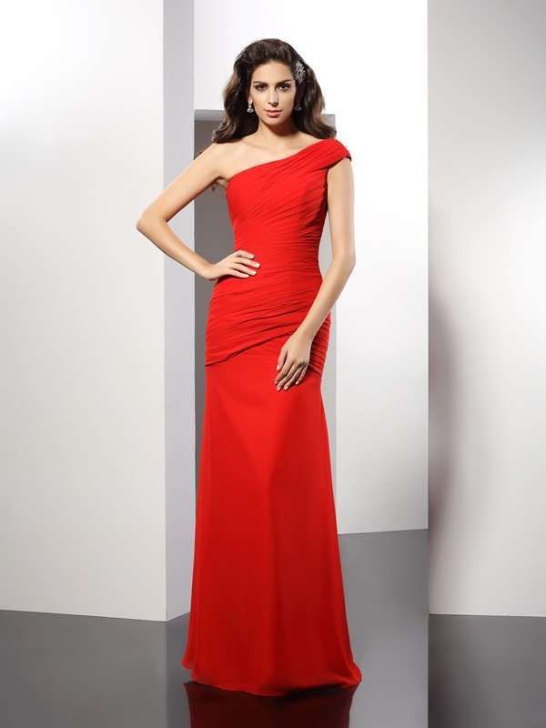 Charming Sheath One-Shoulder Sleeveless Long Chiffon Dress