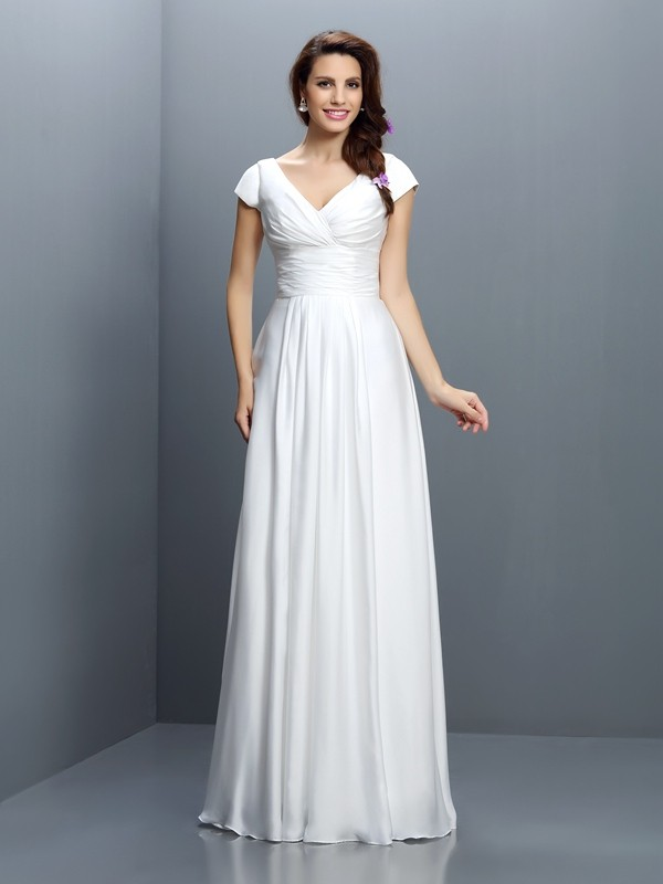 Charming A-Line V-neck Short Sleeves Long Chiffon Bridesmaid Dress