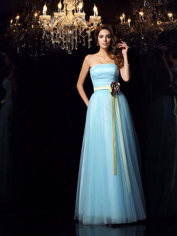 Charming Ball Gown Strapless Sleeveless Long Satin Quinceanera Dress