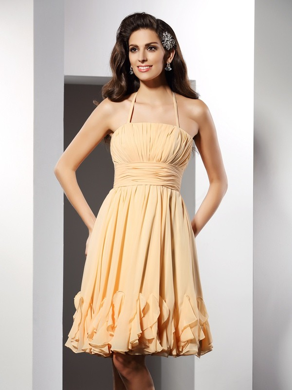 Charming A-Line Halter Sleeveless Short Chiffon Cocktail Dress