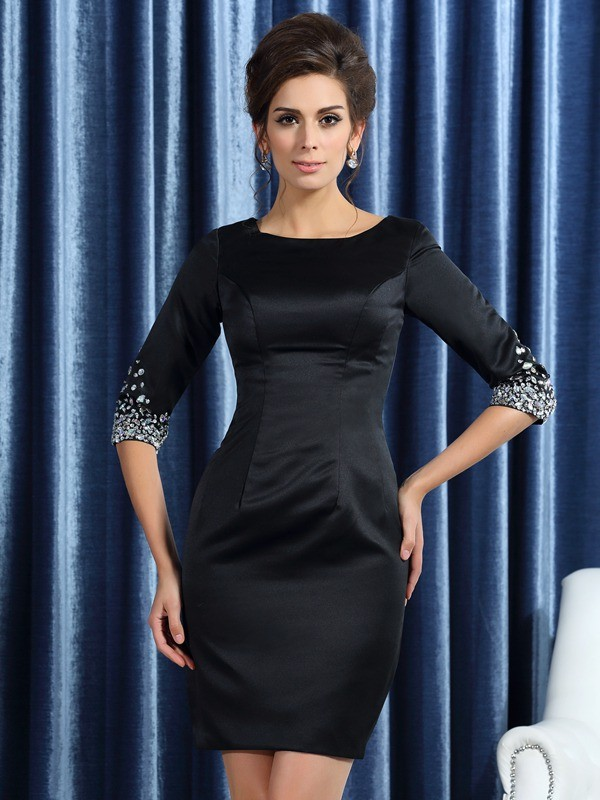 Charming Sheath Square 1/2 Sleeves Short Satin Mother of the Bride Dress