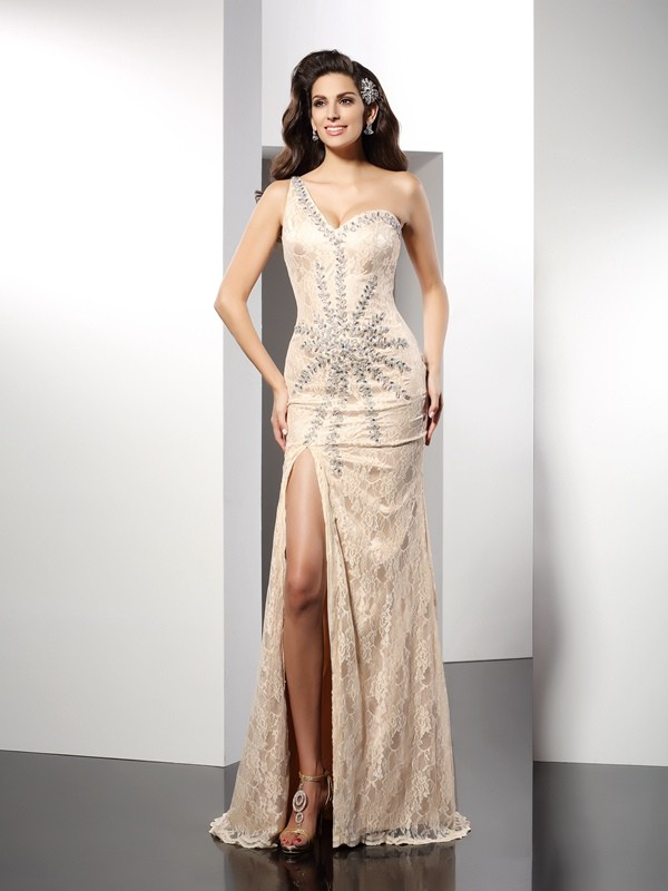 Classical Sheath One-Shoulder Sleeveless Long Elastic Woven Satin Dress