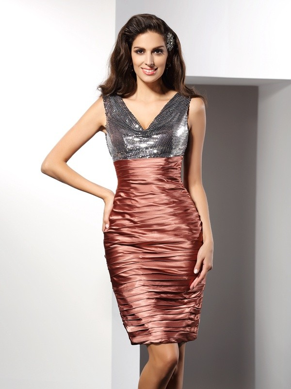 Classical Sheath V-neck Sleeveless Short Silk like Satin Cocktail Dress