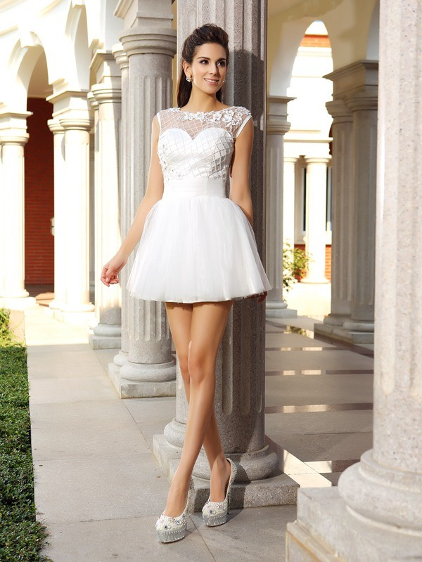 Classical A-Line Scoop Sleeveless Short Satin Cocktail Dress