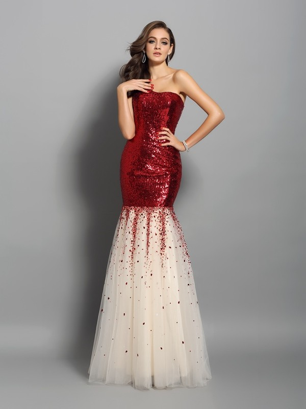 Classical Mermaid One-Shoulder Sleeveless Long Sequins Dress