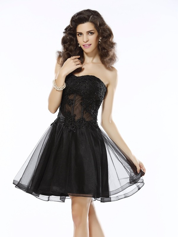 Classical A-Line Sweetheart Sleeveless Short Satin Cocktail Dress