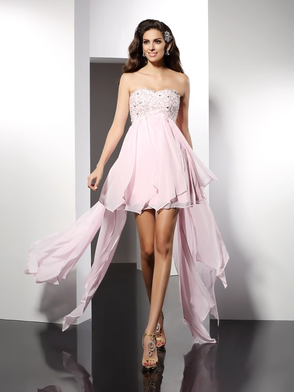 Classical A-Line Sweetheart Sleeveless High Low Chiffon Cocktail Dress