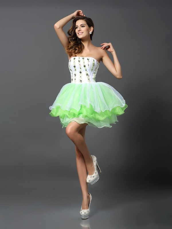 Classical A-Line Strapless Sleeveless Short Organza Cocktail Dress