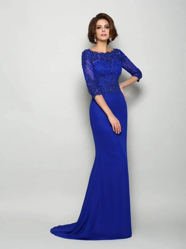 Classical Mermaid Scoop 3/4 Sleeves Long Chiffon Mother of the Bride Dress
