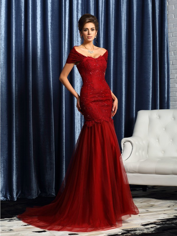 Classical Mermaid Off-the-Shoulder Short Sleeves Long Satin Mother of the Bride Dress