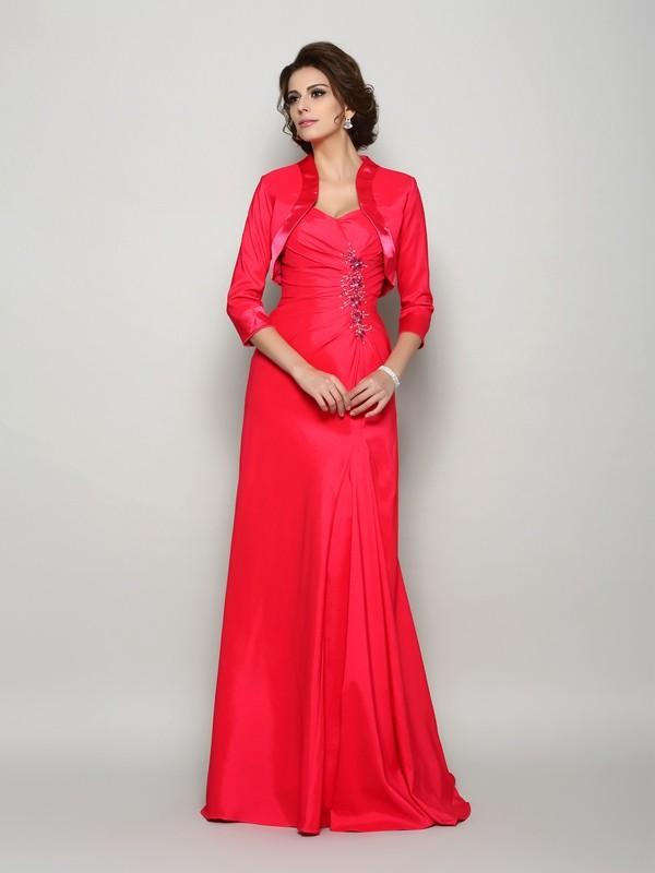 Classical A-Line Straps Sleeveless Long Elastic Woven Satin Mother of the Bride Dress