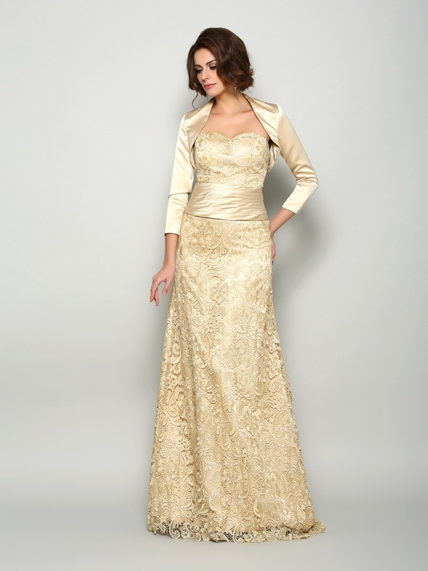 Classical A-Line Sweetheart Sleeveless Long Satin Mother of the Bride Dress