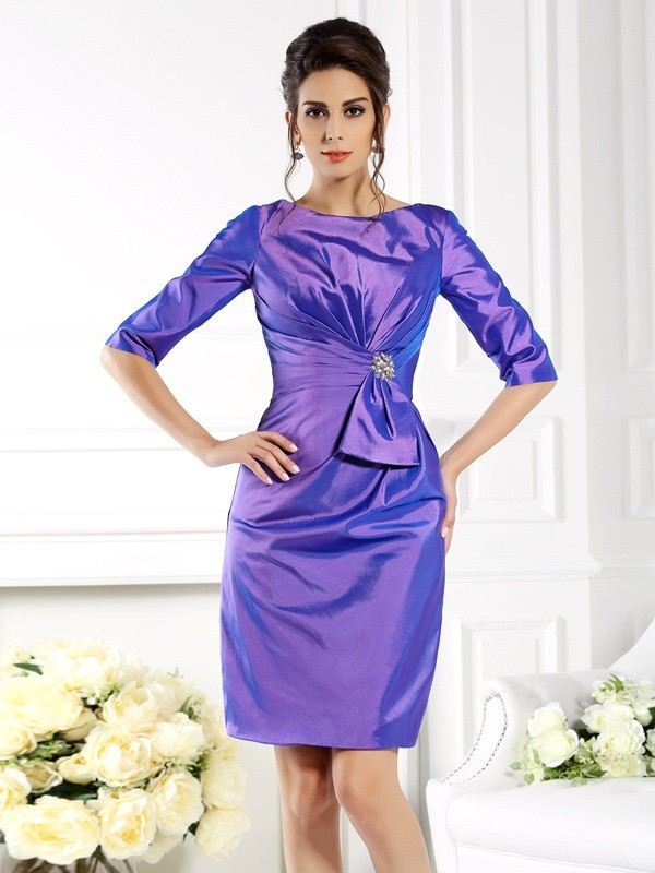 Fancy Sheath Bateau 1/2 Sleeves Short Taffeta Mother of the Bride Dress