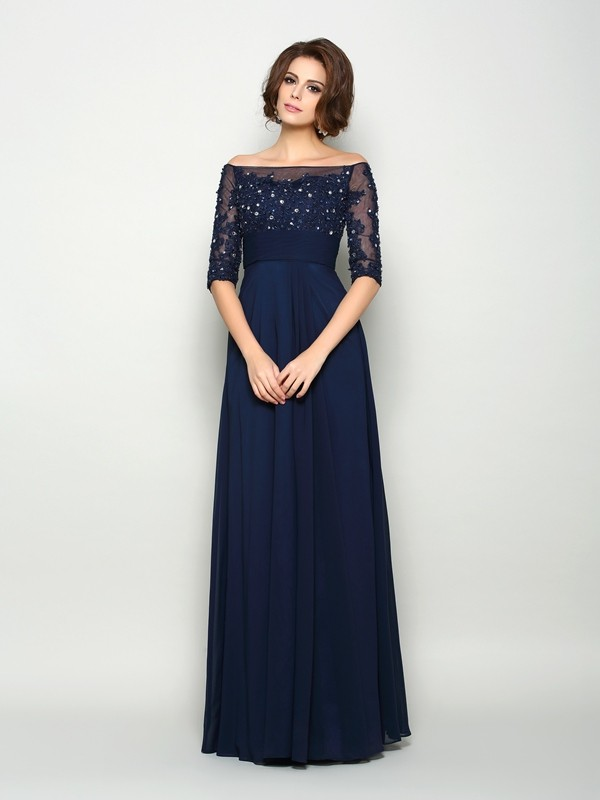 Fancy A-Line Off-the-Shoulder 1/2 Sleeves Long Chiffon Mother of the Bride Dress