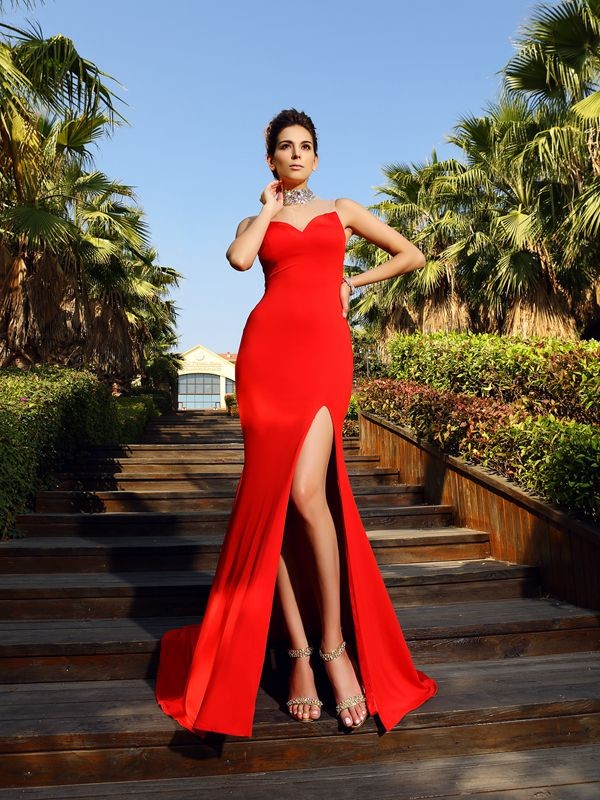 Fancy Sheath High Neck Sleeveless Long Spandex Dress