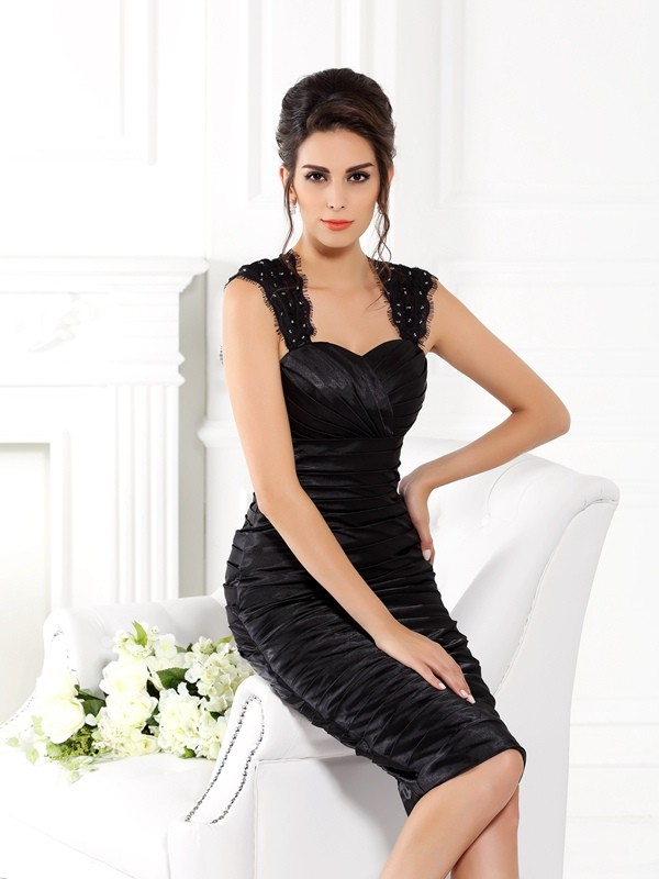 Fancy Sheath Straps Sleeveless Short Taffeta Mother of the Bride Dress