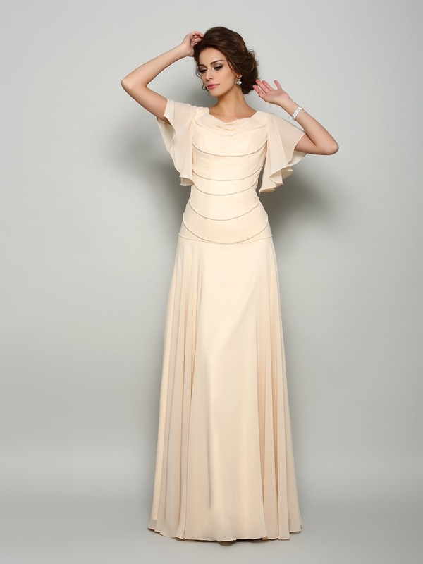 Fancy A-Line Square Short Sleeves Long Chiffon Mother of the Bride Dress