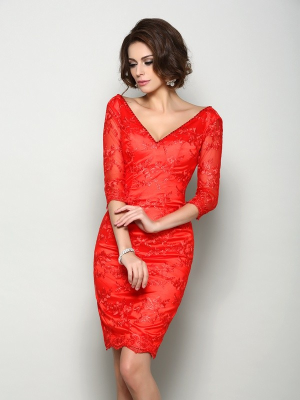 Fancy Sheath V-neck Lace 1/2 Sleeves Short Lace Mother of the Bride Dress