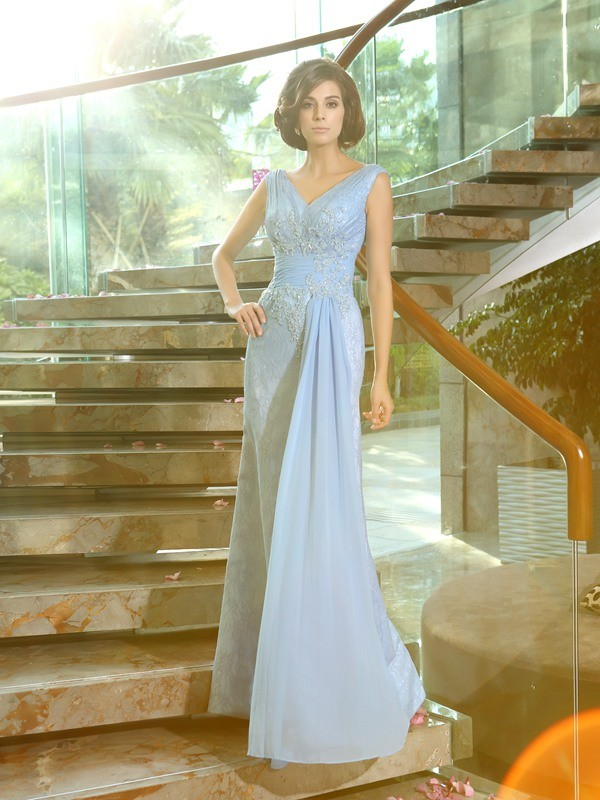 Fancy Sheath V-neck Sleeveless Long Lace Mother of the Bride Dress