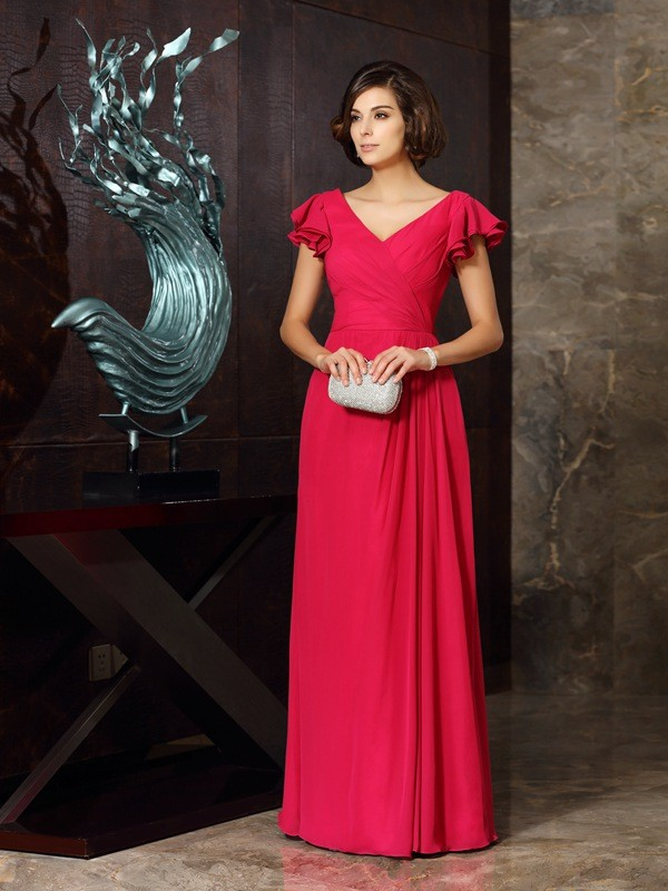 Gorgeous A-Line V-neck Short Sleeves Long Chiffon Mother of the Bride Dress
