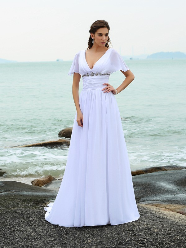 Gorgeous A-Line V-neck Short Sleeves Long Chiffon Beach Wedding Dress