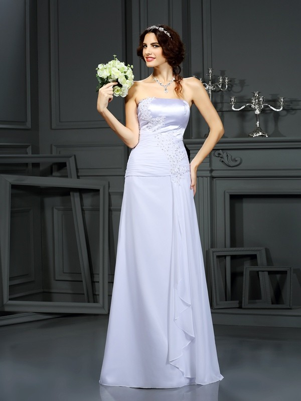 Gorgeous Sheath Strapless Sleeveless Long Chiffon Wedding Dress