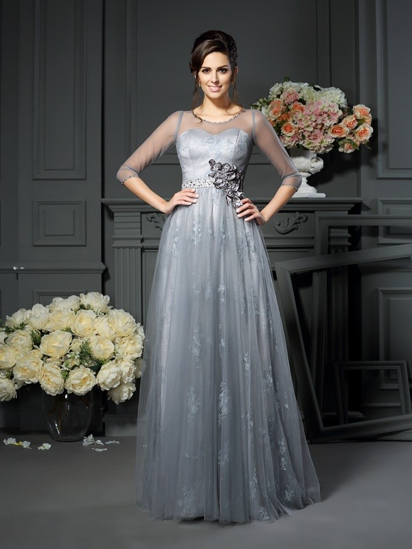 Gorgeous A-Line Scoop Lace 1/2 Sleeves Long Satin Mother of the Bride Dress