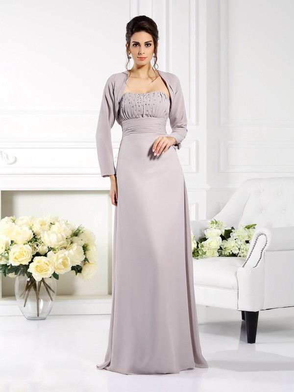Gorgeous A-Line Strapless Sleeveless Long Chiffon Mother of the Bride Dress