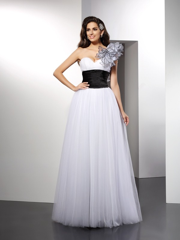 Gorgeous A-Line One-Shoulder Sleeveless Long Net Dress