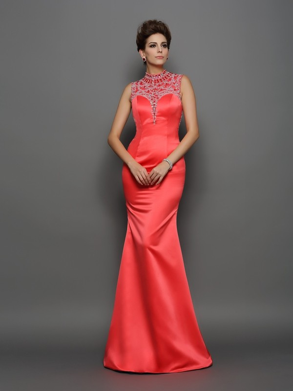 Unique Mermaid High Neck Sleeveless Long Satin Dress
