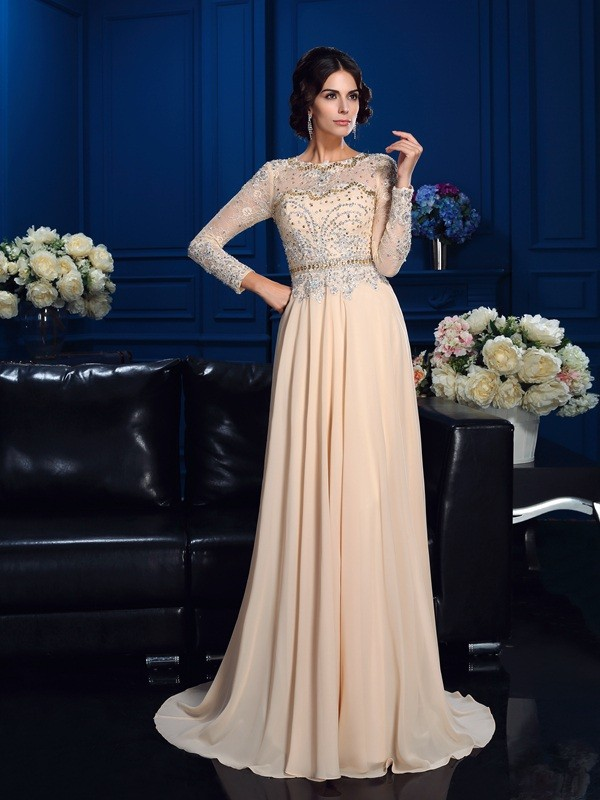 Unique A-Line Scoop Long Sleeves Long Chiffon Mother of the Bride Dress