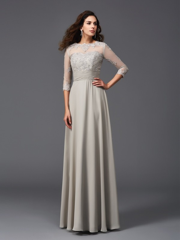 Unique A-Line Scoop 3/4 Sleeves Long Chiffon Dress