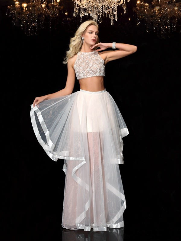 Nice A-Line Scoop Sleeveless Long Tulle Two Piece Dress