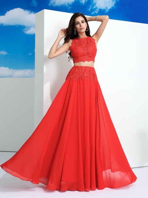 Nice A-Line Scoop Lace Sleeveless Long Chiffon Two Piece Dress