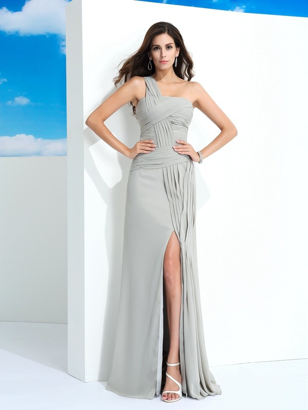 Nice Sheath One-Shoulder Sleeveless Long Chiffon Dress