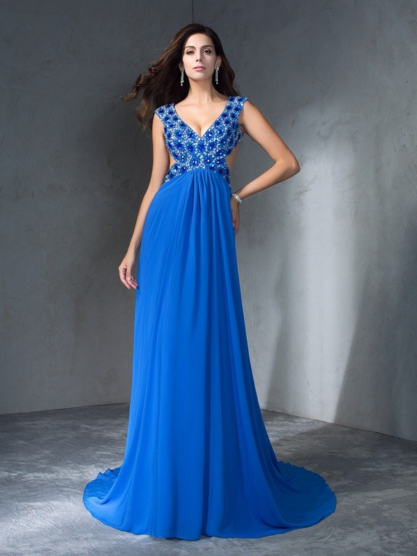 Nice A-Line V-neck Sequin Sleeveless Long Chiffon Dress