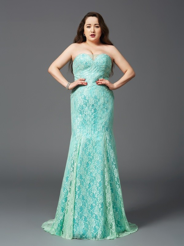 Nice Sheath Strapless Lace Sleeveless Long Satin Plus Size Dress