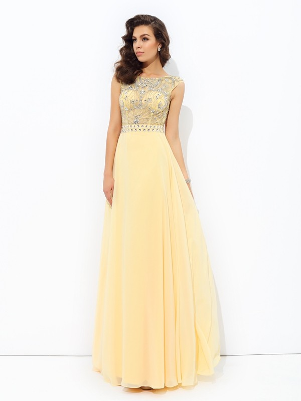 Nice A-Line Bateau Sleeveless Long Chiffon Dress
