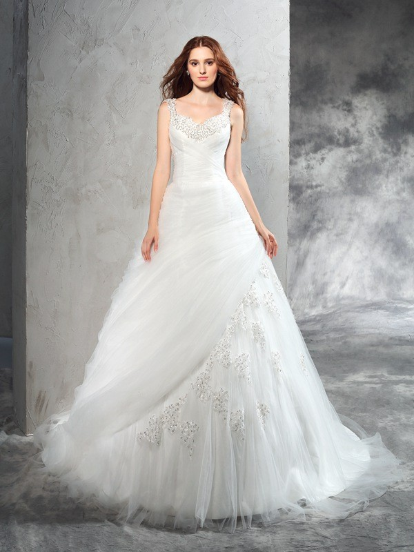 Nice Ball Gown Straps Sleeveless Long Net Wedding Dress