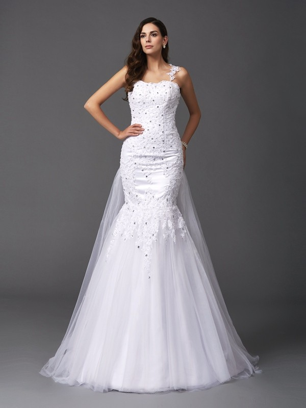 Nice Mermaid Straps Sleeveless Long Net Wedding Dress