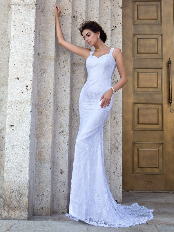 Nice Sheath Straps Lace Sleeveless Long Lace Wedding Dress