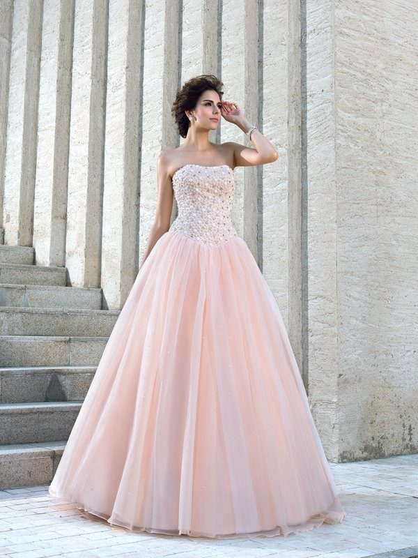 Nice Ball Gown Strapless Sleeveless Long Satin Wedding Dress