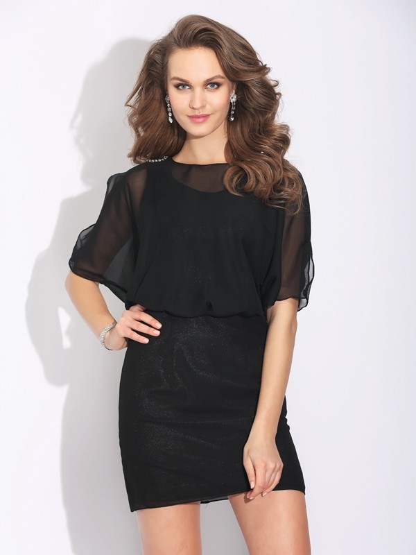 Nice A-Line Jewel 1/2 Sleeves Short Chiffon Dress