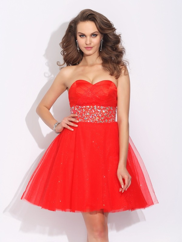 Nice A-Line Sweetheart Sleeveless Short Net Dress